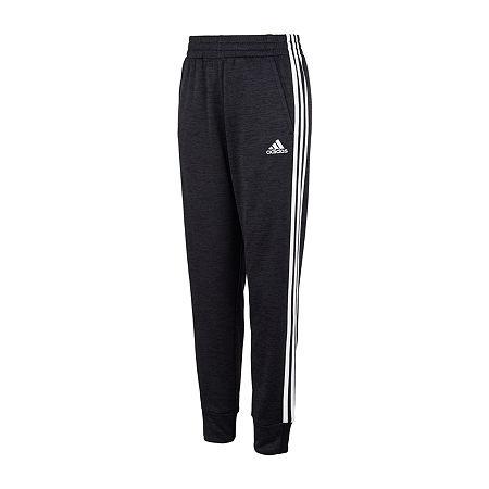 adidas Big Boys Mid Rise Cuffed Jogger Pant, Small (8) , Black