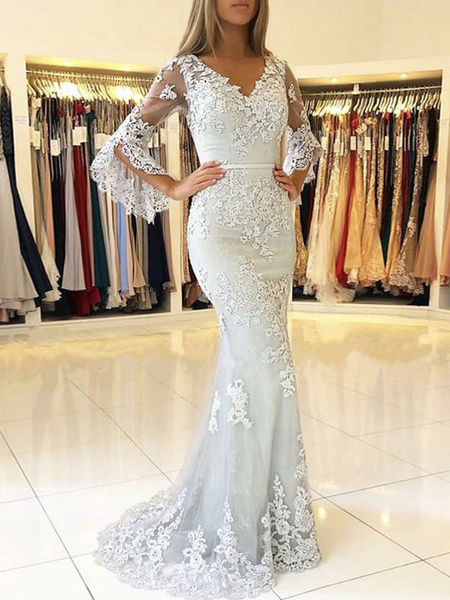Milanoo Lace Evening Dress Ivory V Neck Long Sleeve Floor Length Formal Dress Mermaid Party Dresses
