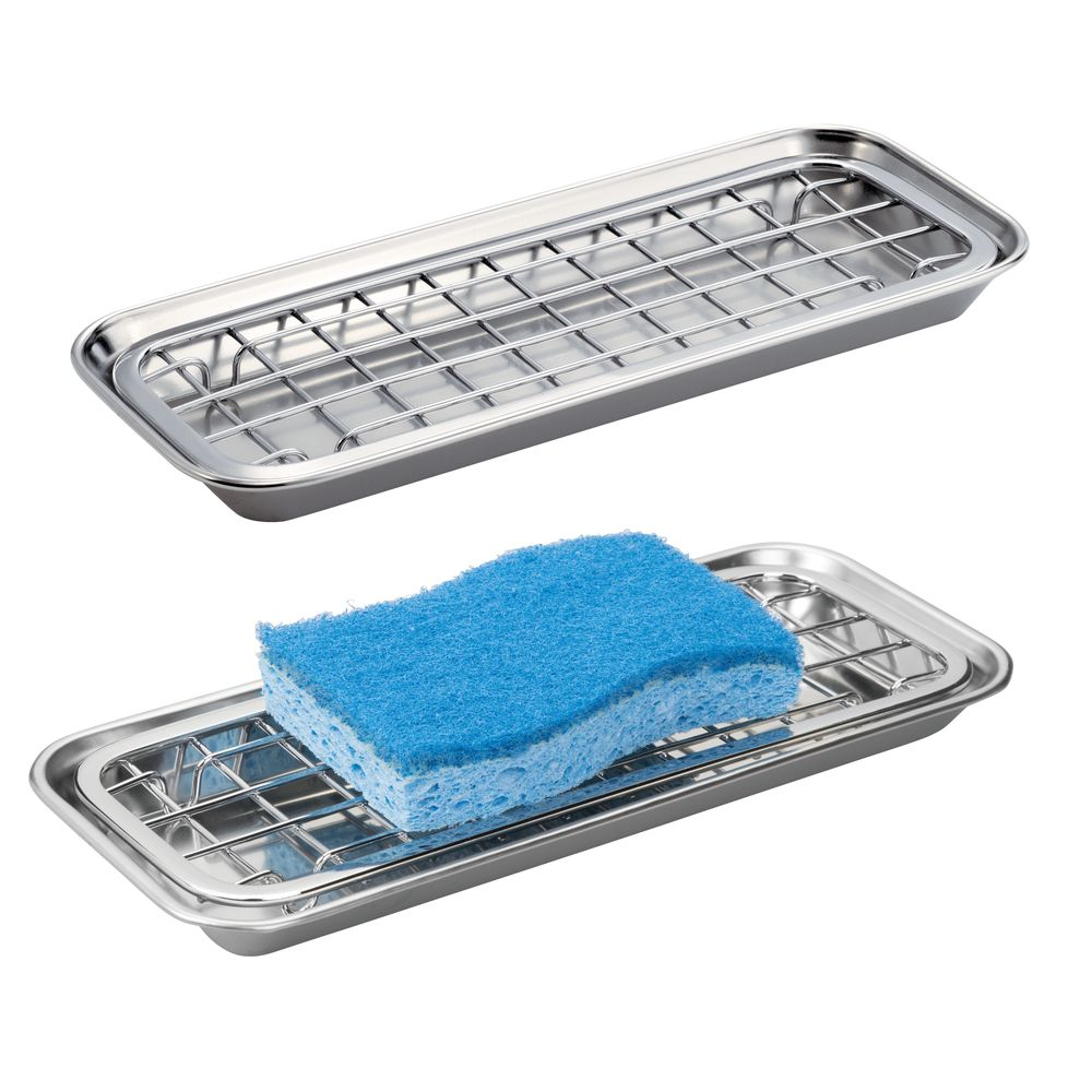 Long Metal Kitchen Sink Tray, Soap Dish / Sponge Holder in Polished, 4