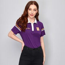 Contrast Collar Letter Graphic Half Placket Tee
