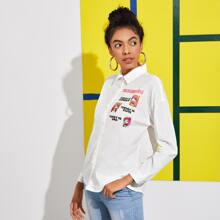 Collared Buttoned Front Slogan and Cartoon Graphic Blouse