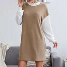 Strick Kleid mit Farbblock