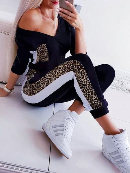 Milanoo Women Black Leopard Print V-Neck Long Sleeves Jumpsuit Polyester Skinny Playsuit