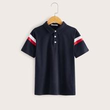 Camisa polo de niños con estampado de rayas
