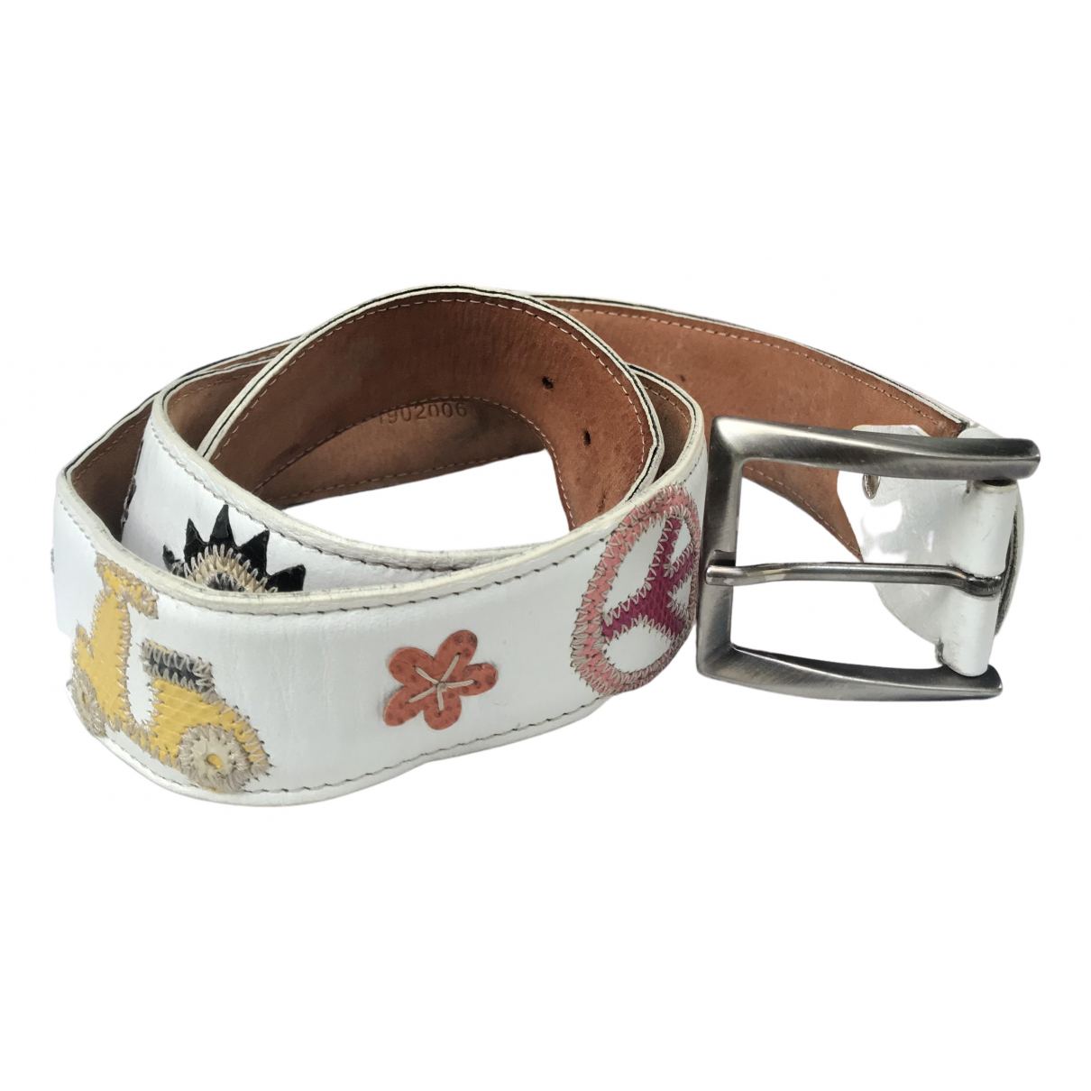 Non Signé / Unsigned N White Leather belt for Women M International