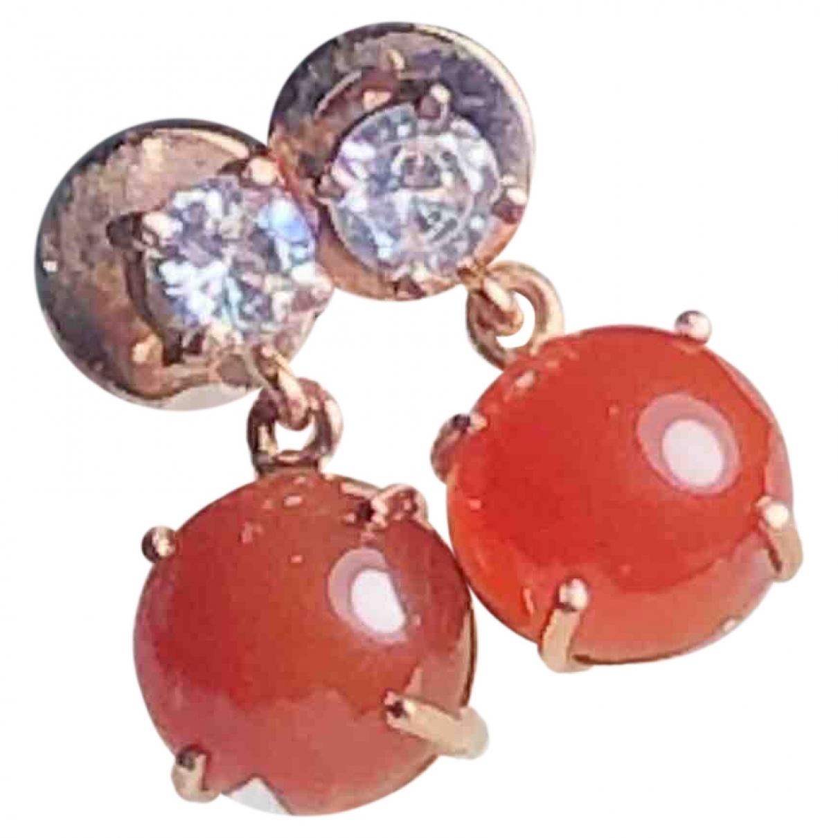 - Boucles doreilles   pour femme en or rose - rouge
