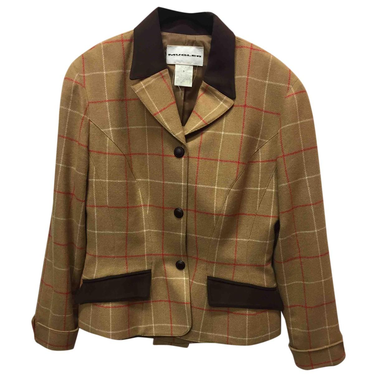 Mugler - Veste   pour femme en laine - marron