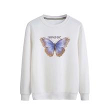Pullover mit Schmetterling und Buchstaben Muster