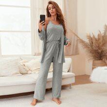 3pcs Heather Gray Cami Pajama Set & Robe