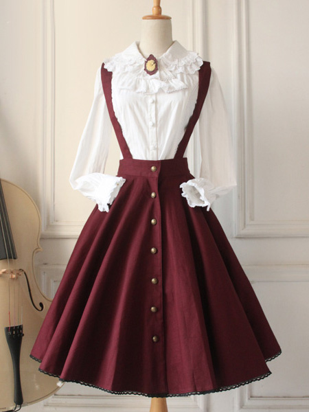 Milanoo Classical Lolita Dress Military Style Cross Regression Lolita Salopette Button Suspender Skirt