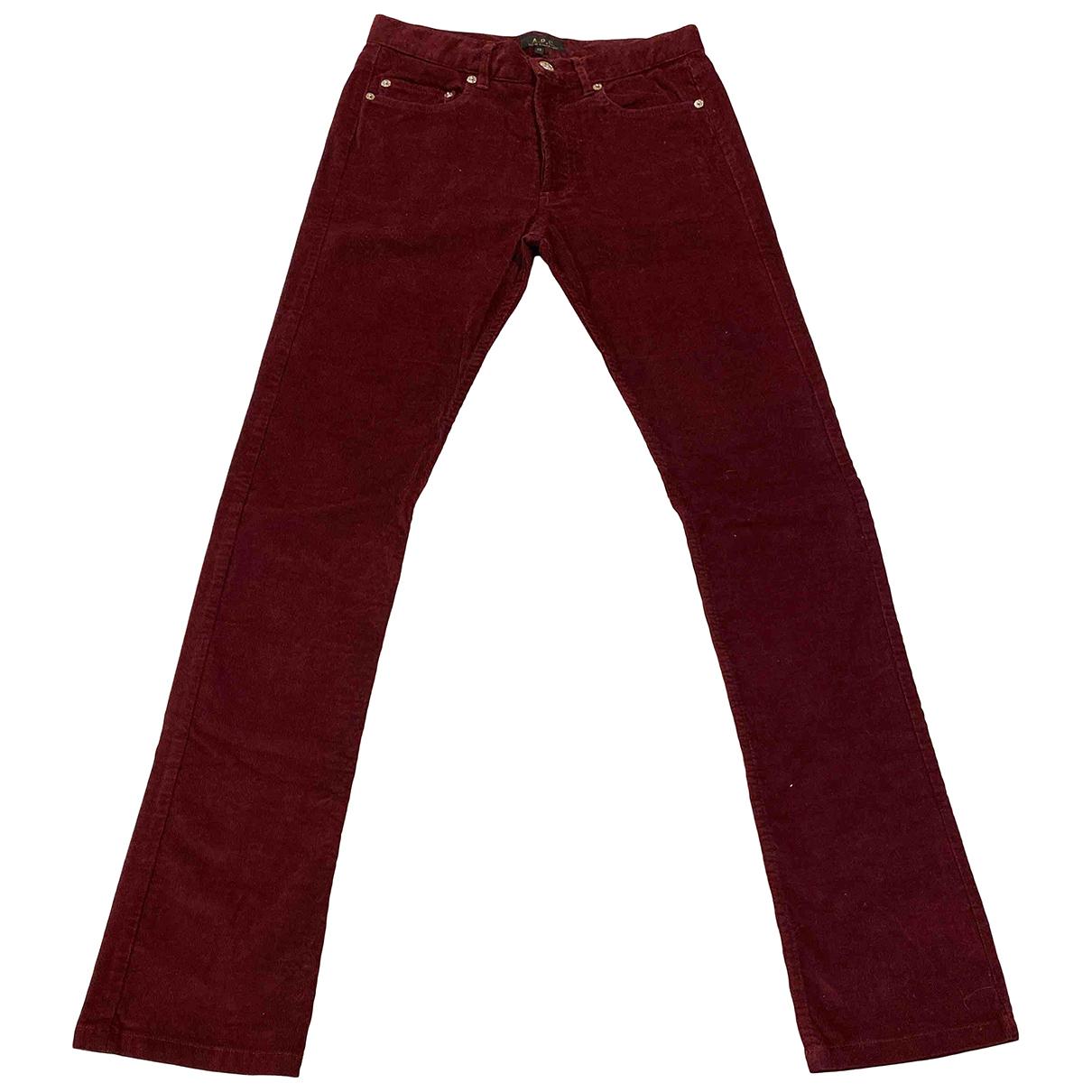 Apc - Pantalon   pour homme en velours - violet