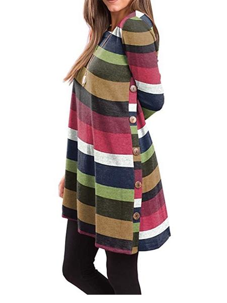 Yoins Kidsform Multicolor Striped Long Sleeves Tee
