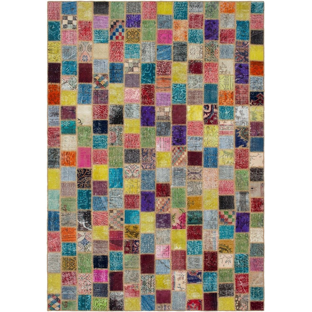 ECARPETGALLERY Hand-knotted Color Transition Patchwork Multi Wool Rug - 68 x 104 (Multi Color/ Multi Color - 68 x 104)