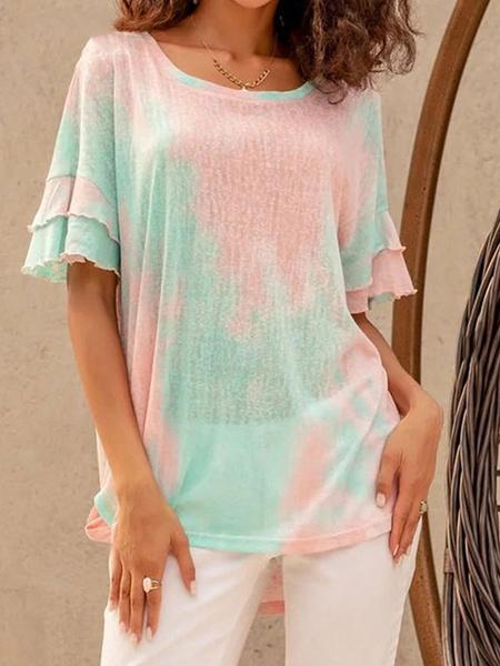 Milanoo Short Sleeves Tees Green Jewel Neck Polyester Women Tee Shirt