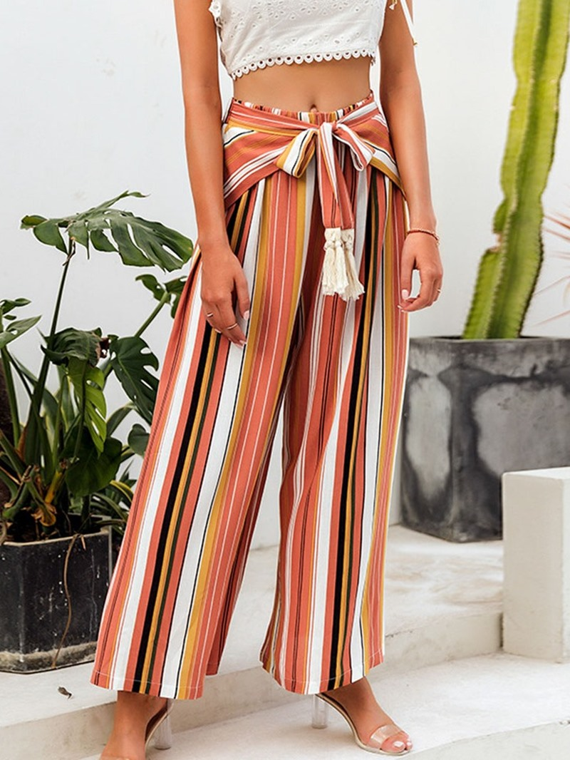 Ericdress Loose Lace-Up Color Block Women'sCasual Pants