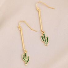 1pair Hook Back Rhinestone Pave Cactus Earrings