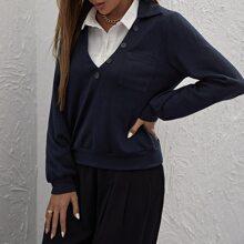 Pullover mit Kragen und Knopfen vorn ohne Bluse
