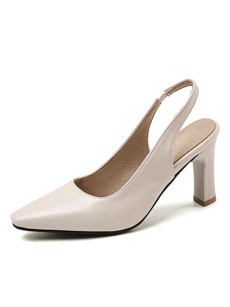 Milanoo Slingback Heels Square Toe Pumps Plus Size Shoes