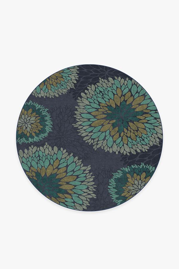 Washable Rug Cover   Floral Medallion Navy Rug   Stain-Resistant   Ruggable   6' Round