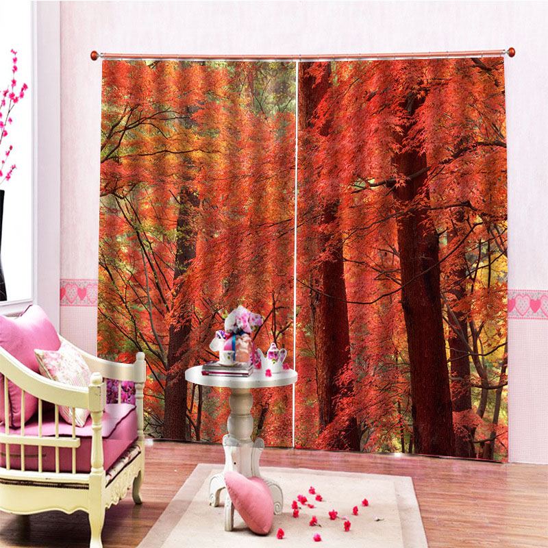 Autumn Season Maple Leaves and Forest Blackout 3D Scenery Curtains