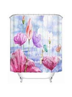 Cartoon Girl Sitting on the Colorful Lotus Print 3D Bathroom Shower Curtain