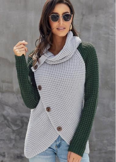 Trendy Asymmetric Hem Inclined Button Turtleneck Contrast Sweater - L
