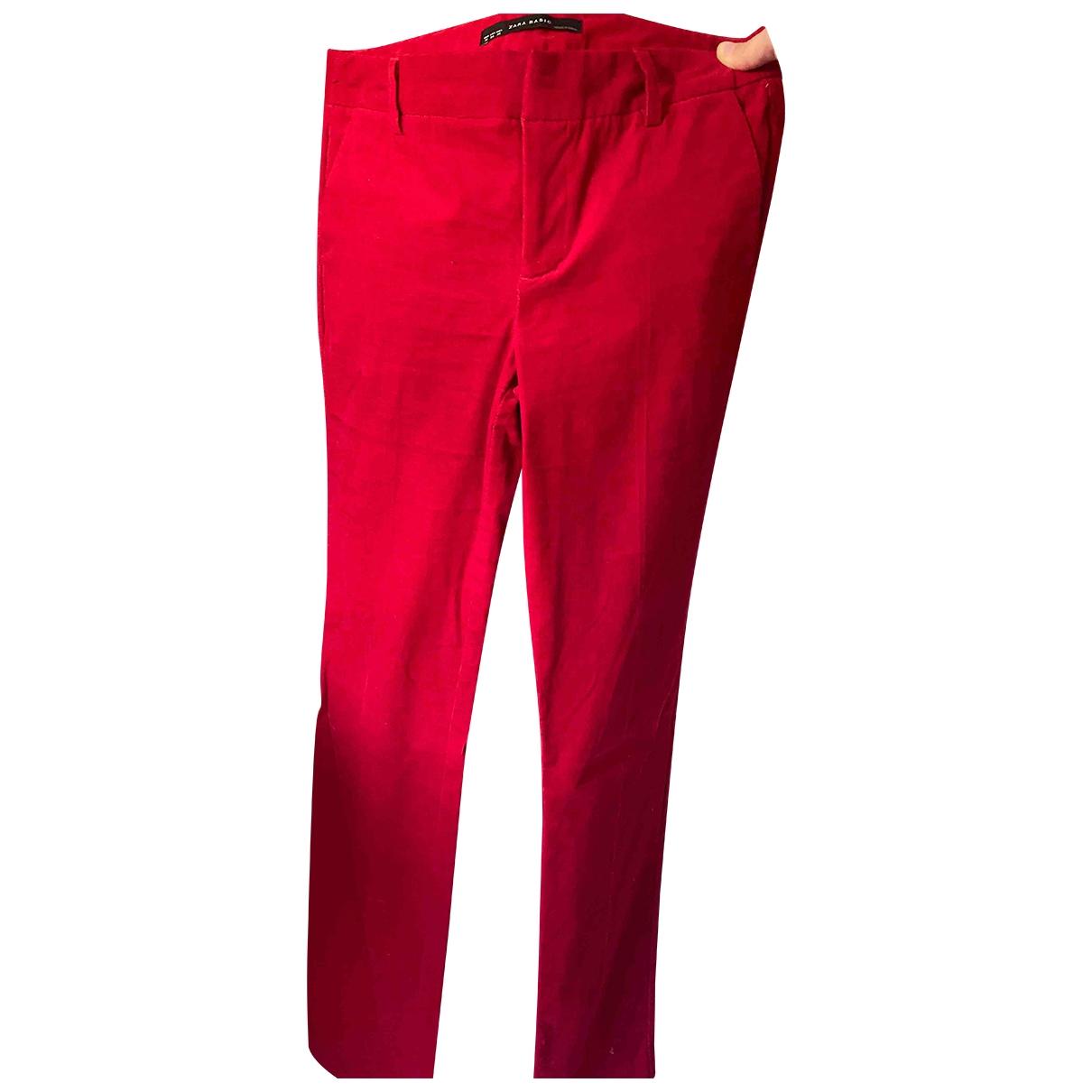 Zara \N Red Velvet Trousers for Women 36 FR
