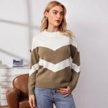 Chevron Color Block Sweater