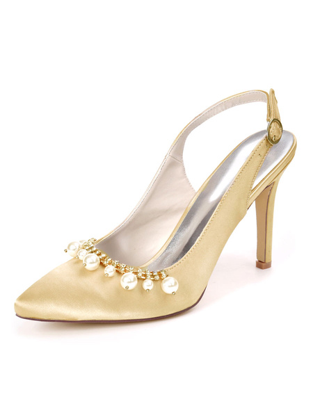 Milanoo High Heel Wedding Shoes Satin Pointed Toe Pearls Stiletto Heel Bridal Shoes Party Shoes