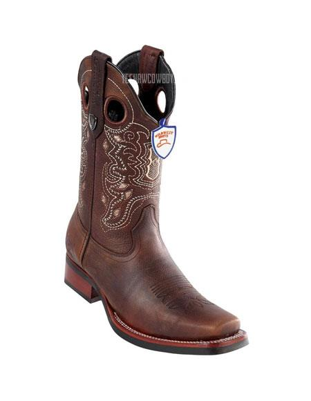 Mens Brown Handmade Wild West Rage Cowboy Leather Square Toe Boots