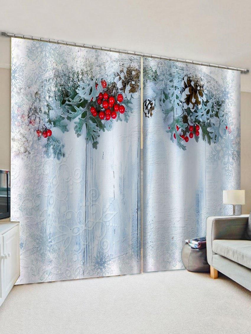 2 Panels Christmas Pine Cone Print Window Curtains