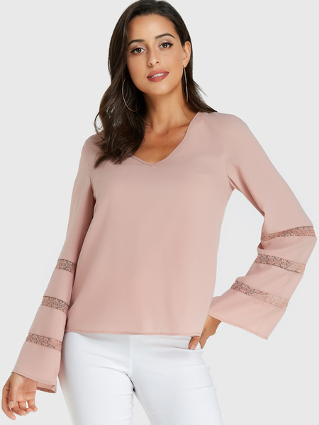 YOINS Pink V-neck Lace Insert Long Sleeves Blouse