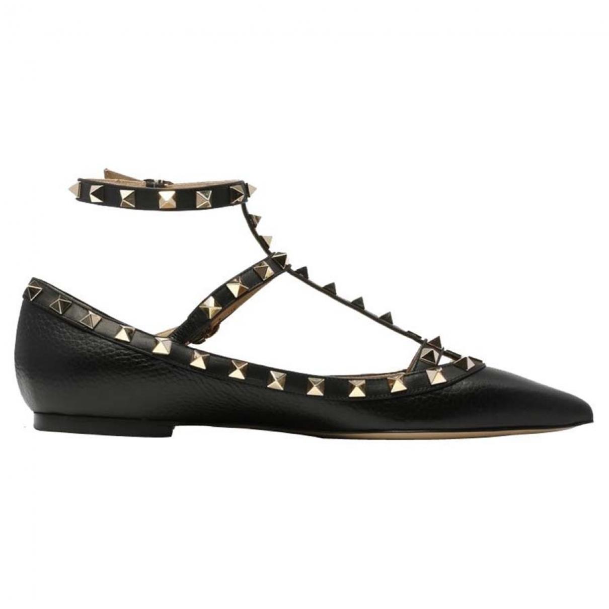 Valentino Garavani \N Black Leather Ballet flats for Women 36.5 EU