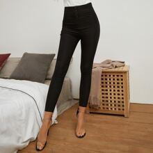 Skinny Hose mit Knopfen