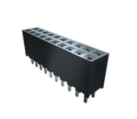 Samtec , SQW 2mm Pitch 20 Way 2 Row Straight PCB Socket, Surface Mount, SMT Termination (300)