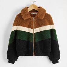 Girls Colorblock Chevron Teddy Jacket