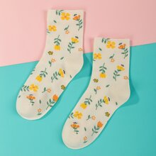 1 Paar Socken mit Blumen Muster