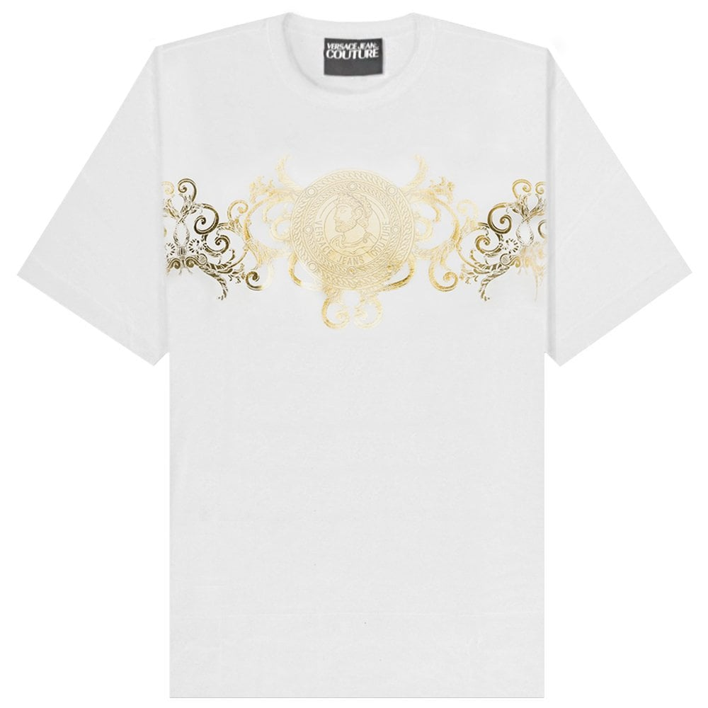 Versace Jeans Couture Adriano Foil Print T-Shirt Colour: WHITE, Size: