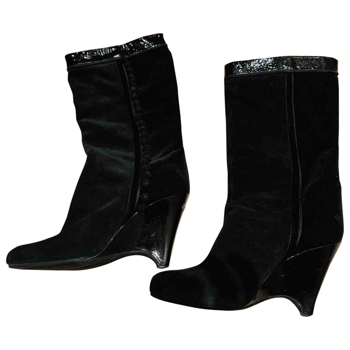 Costume National - Bottes   pour femme en suede - noir