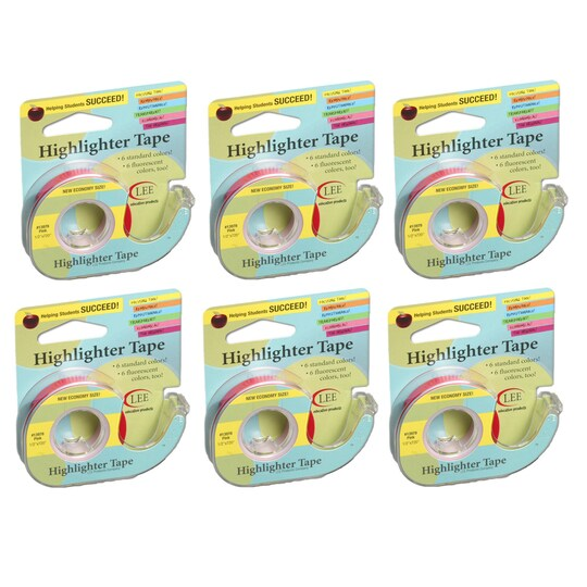 Lee Removable Highlighter Tape, 6Ct. By Lee Products Company in Pink | Michaels®