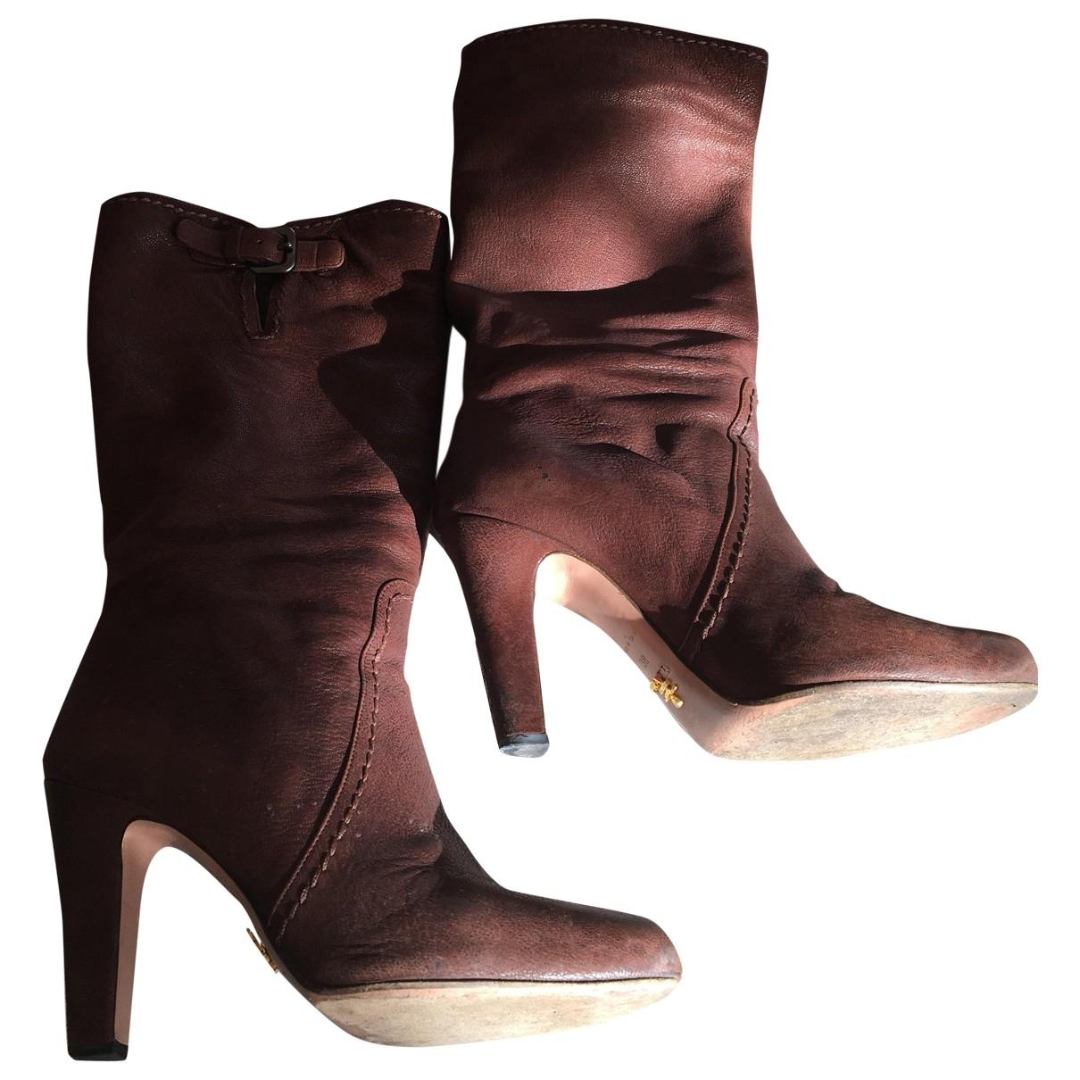 Prada \N Camel Leather Boots for Women 38 EU