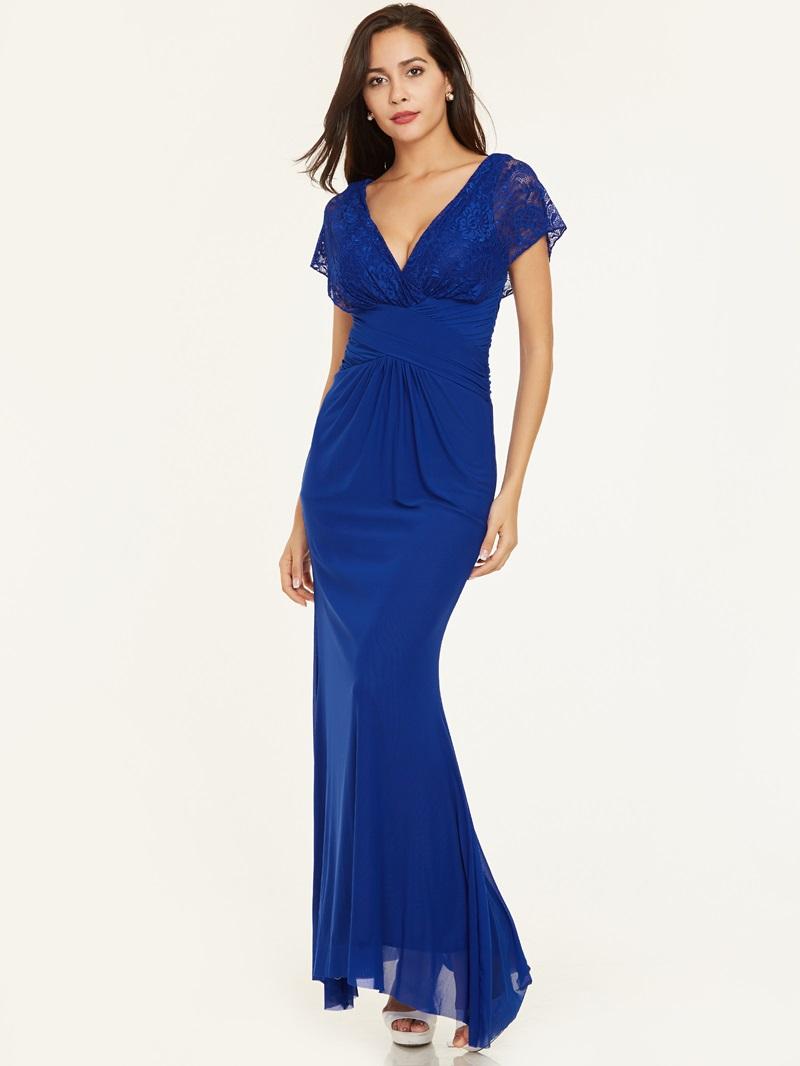 Ericdress V Neck Zipper-Up Lace Pleats Evening Dress