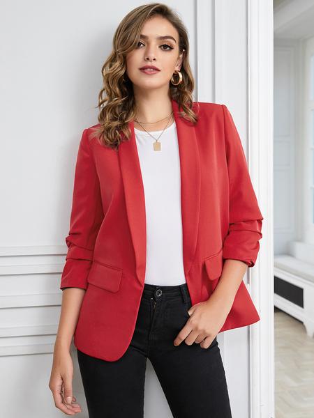 YOINS Red Side Pockets Long Sleeves Blazer
