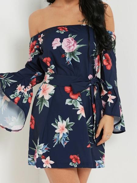 Yoins Sexy Off Shoulder Random Floral Print Dress in Dark Blue