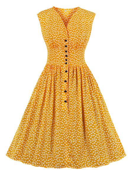 Milanoo Vestido retro amarillo Botones con cuello en V de los años 50 Sin mangas Hasta la rodilla Estampado floral Vestido retro Rockabilly