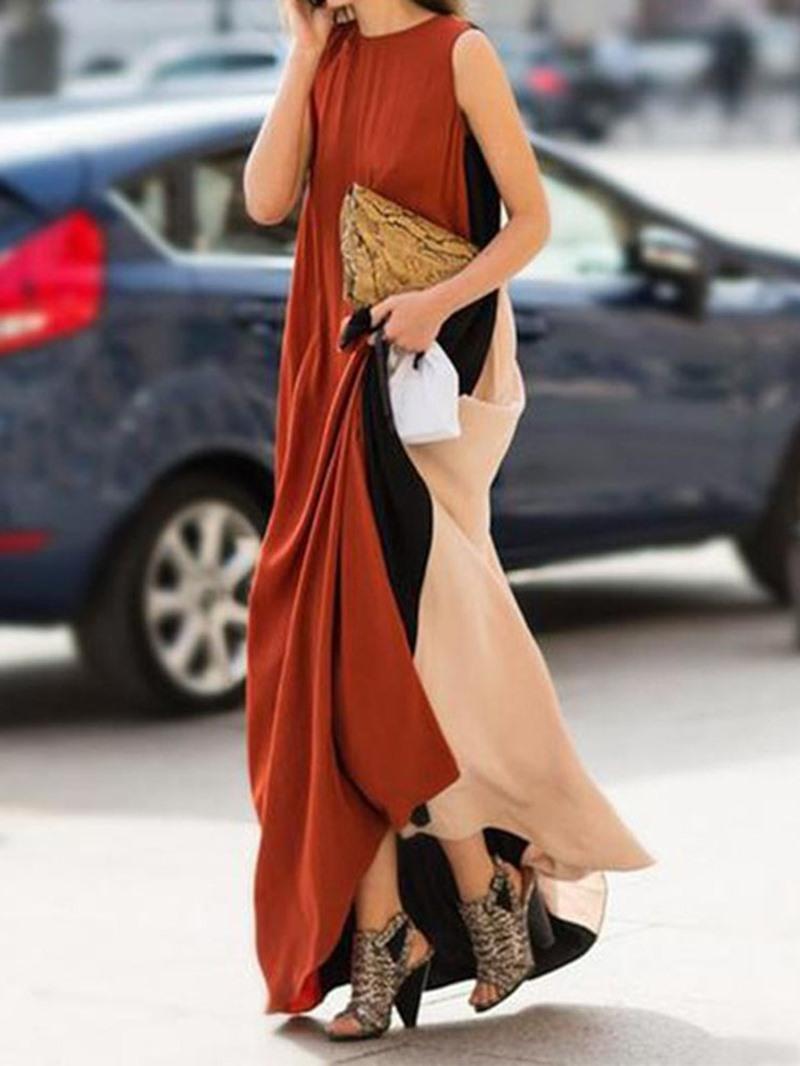 Ericdress Sleeveless Round Neck Floor-Length Color Block Summer Dress