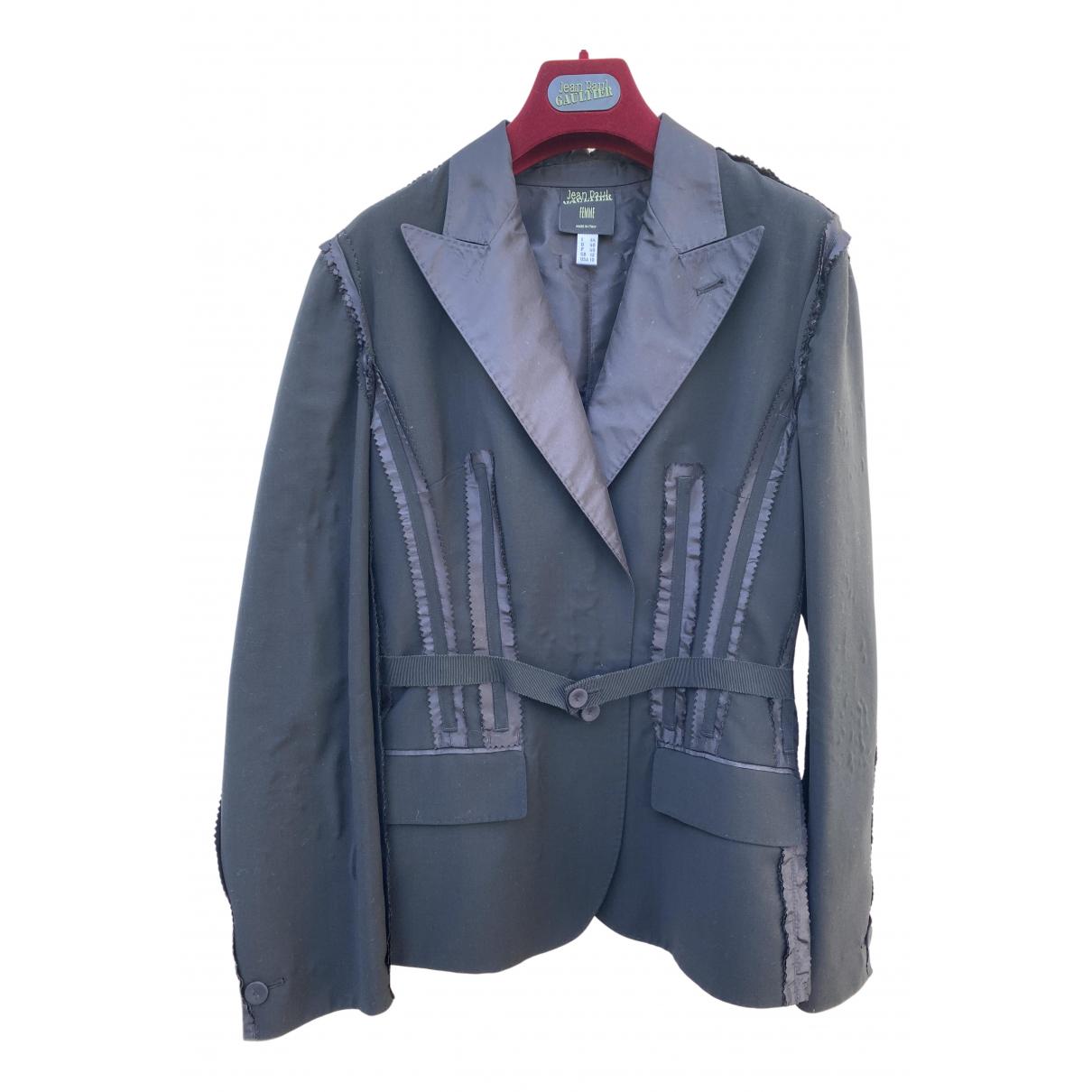 Jean Paul Gaultier - Veste   pour femme en laine - noir