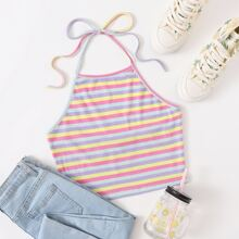 Tie Back Rib-knit Rainbow Striped Halter Top