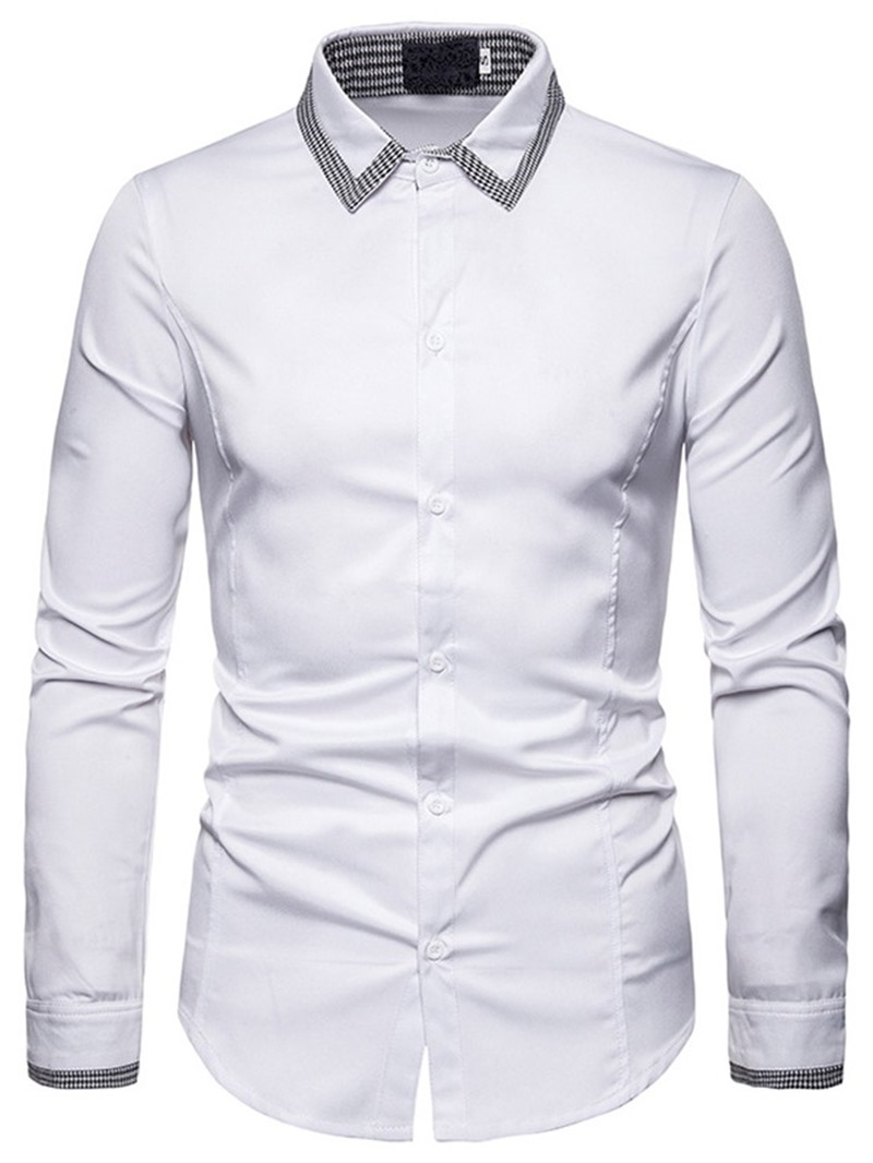 Ericdress Button Lapel Slim Mens Single-Breasted Shirt