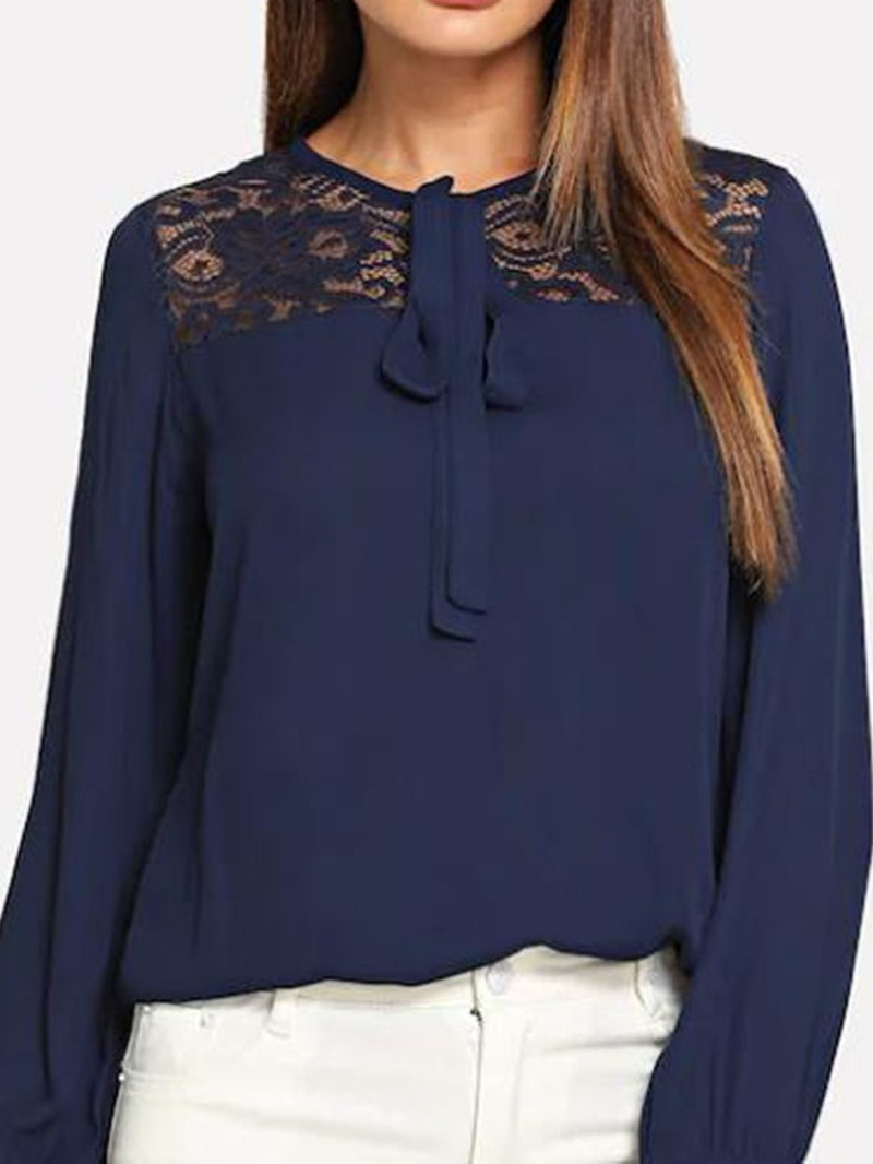Ericdress Patchwork Lace-Up Standard Blouse